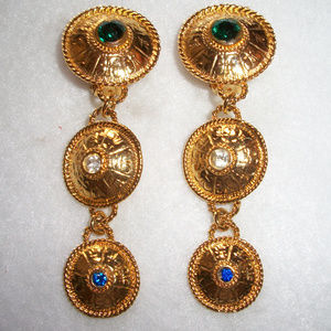 Egyptian Revival Gold Tone Tiered Earrings
